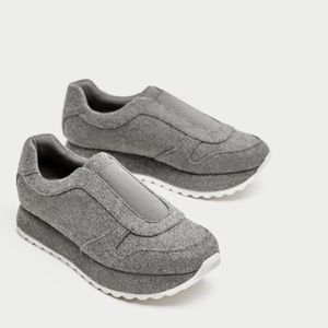 ZARA GRAY FELT SNEAKERS shoes platform white 9